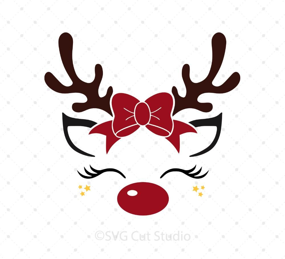 Christmas Bow Reindeer Svg Files Christmas Svg Christmas Bows Christmas Vinyl
