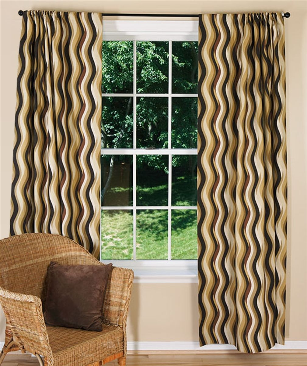 Modern Brown Curtains Waves Chocolate Contemporary Curtains