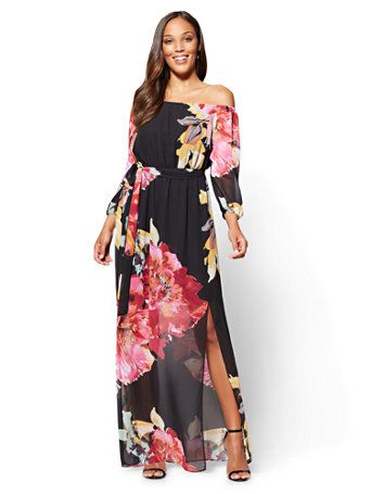 cdefab9d3ebe Shop Off-The-Shoulder Maxi Dress - Black Floral. Find your perfect size  online at the best price at New York   Company.