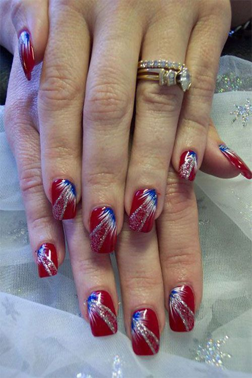 4th of July Fireworks Nail Art Designs | 4th of July Fireworks Nail ...