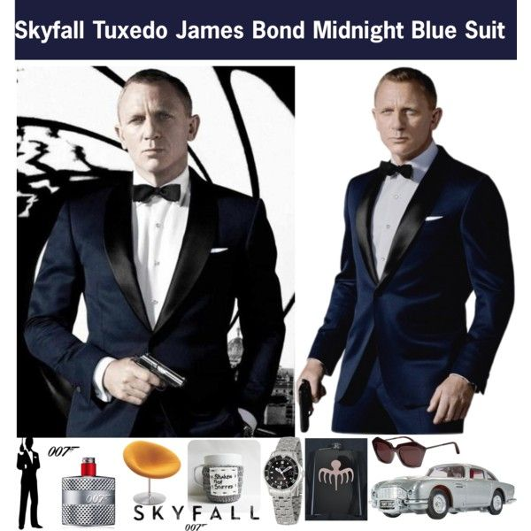 James Bond Midnight Blue Skyfall Tuxedo Suit Midnight Blue