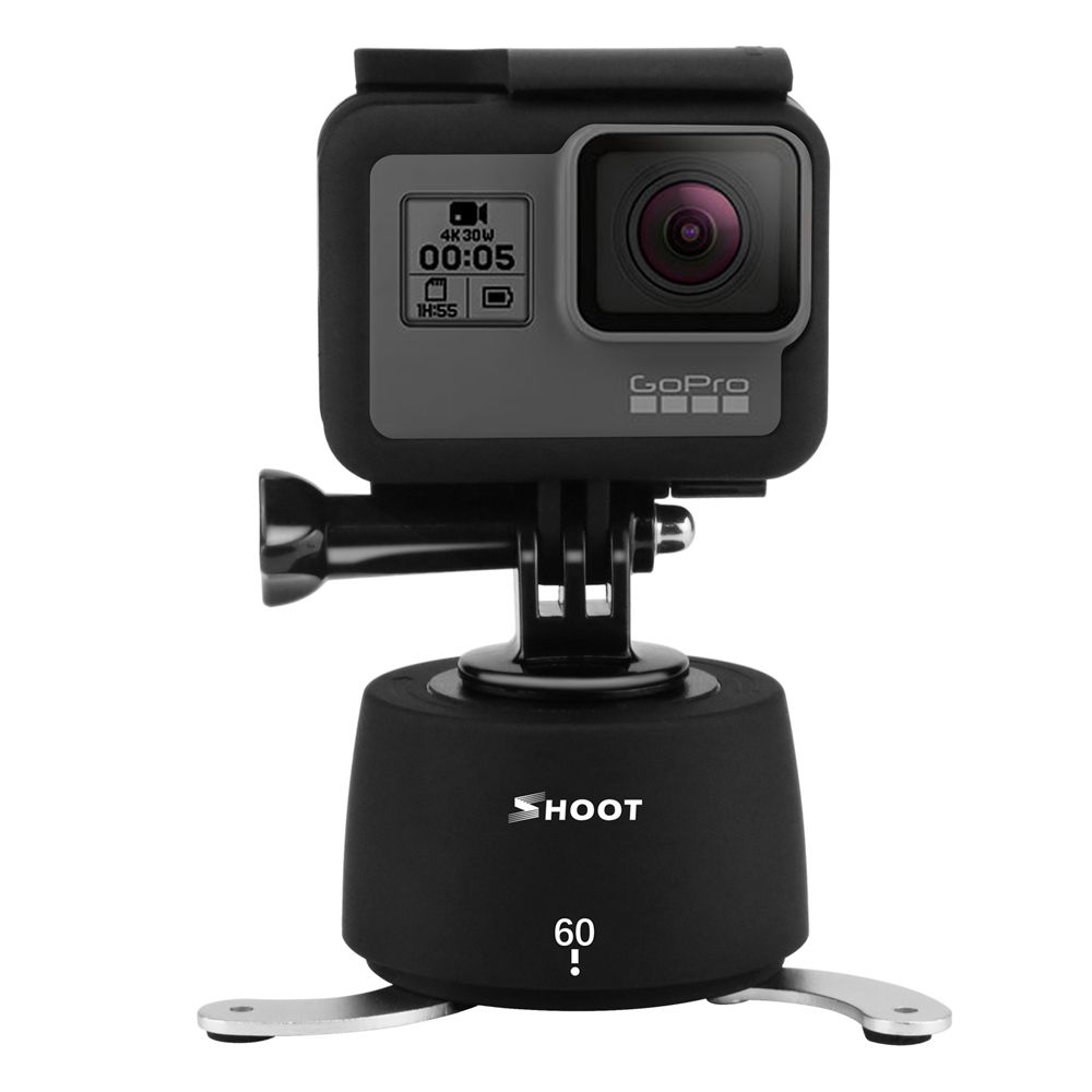 SHOOT 360 Degrees Panning Rotating Time Lapse for GoPro dslr Yi 4K SJCAM Eken Stabilizer GoPro Tripod Head Set for Phone