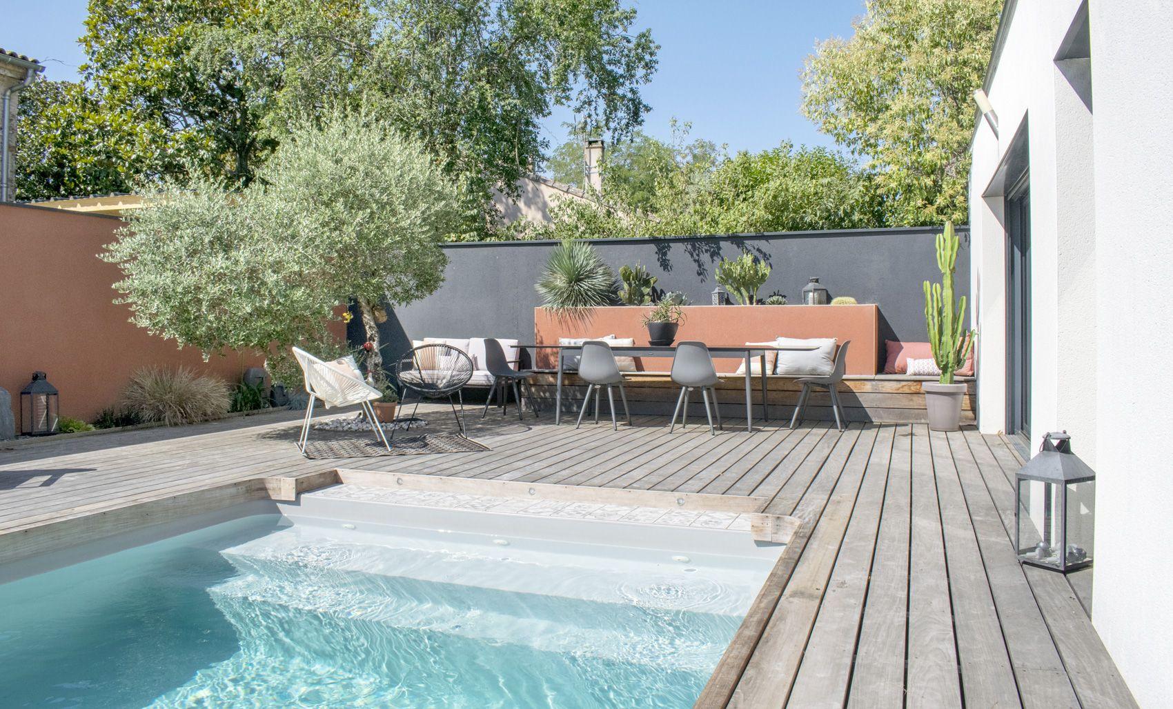 Jardin Moderne Design Piscine Terracotta Terrasse Bois Exotique