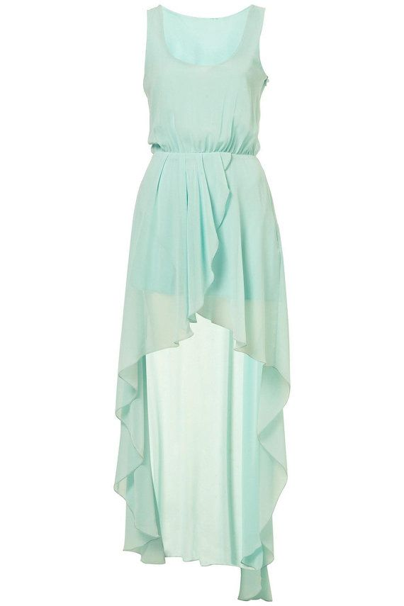 Chiffon Light Mint Teal Bridesmaid Dress Party Dress With Tail