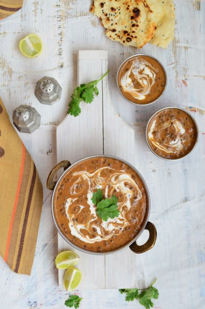 Dal Makhani. Very popular Indian recipe made with whole black lentils cooked with spices and cream.