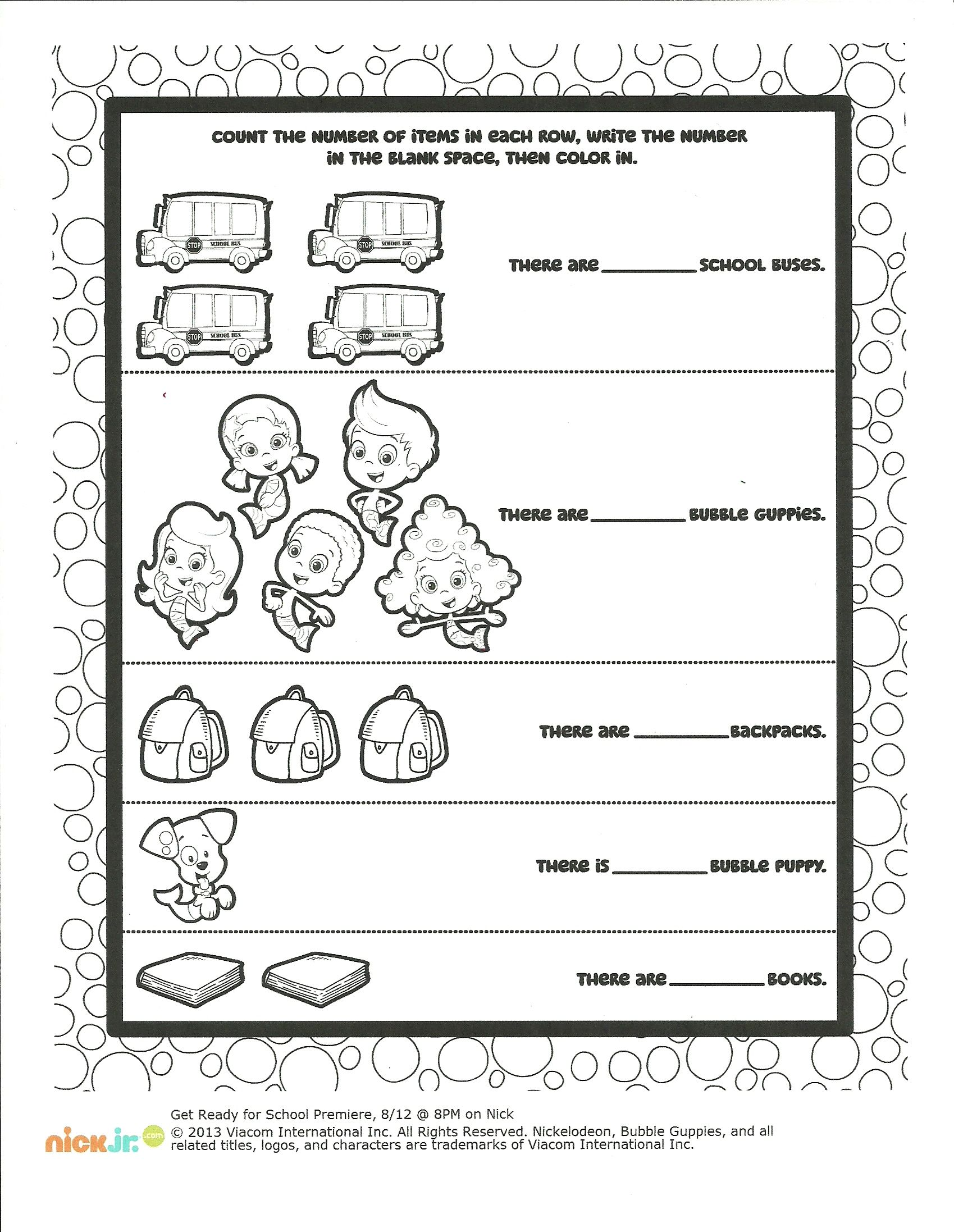 Bubble Guppies Color And Count Worksheet