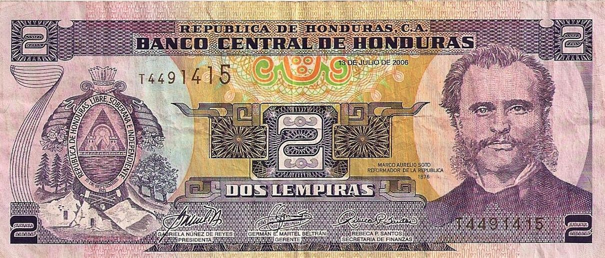 Honduras Uses The Limpira A Form Of Money With Us Exchange Rate 1 Dollars Some Their Paper Has Picture Guy Awesome