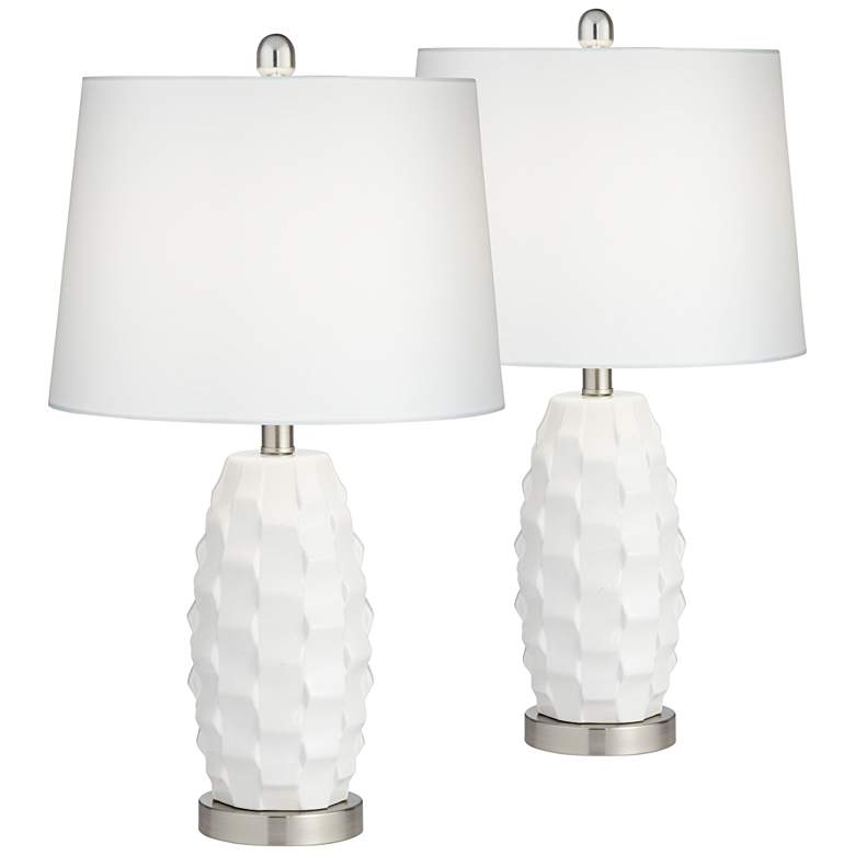 Scalloped Ceramic Led Table Lamps With Dimmers Set Of 2 79g37 Lamps Plus In 2020 White Lamp Shade Led Table Lamp Lamp Sets