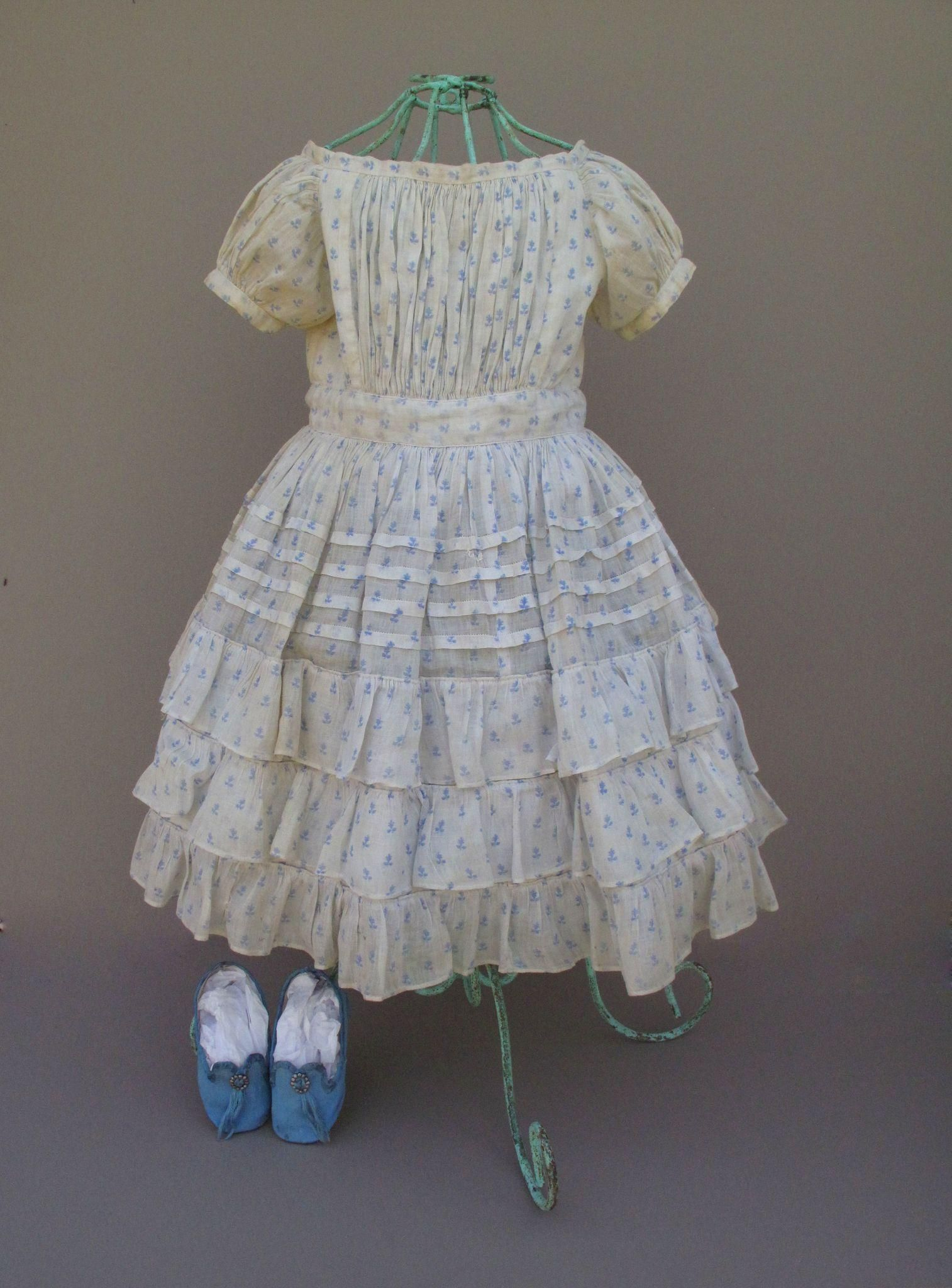 beautiful mid 19th century shear cotton frock in cream and blue for large french or german child