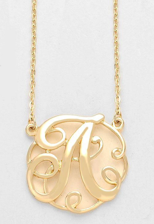 Monogram initial necklace 15 letter a pendant gold chain monogram initial necklace 15 letter a pendant gold chain aloadofball Gallery