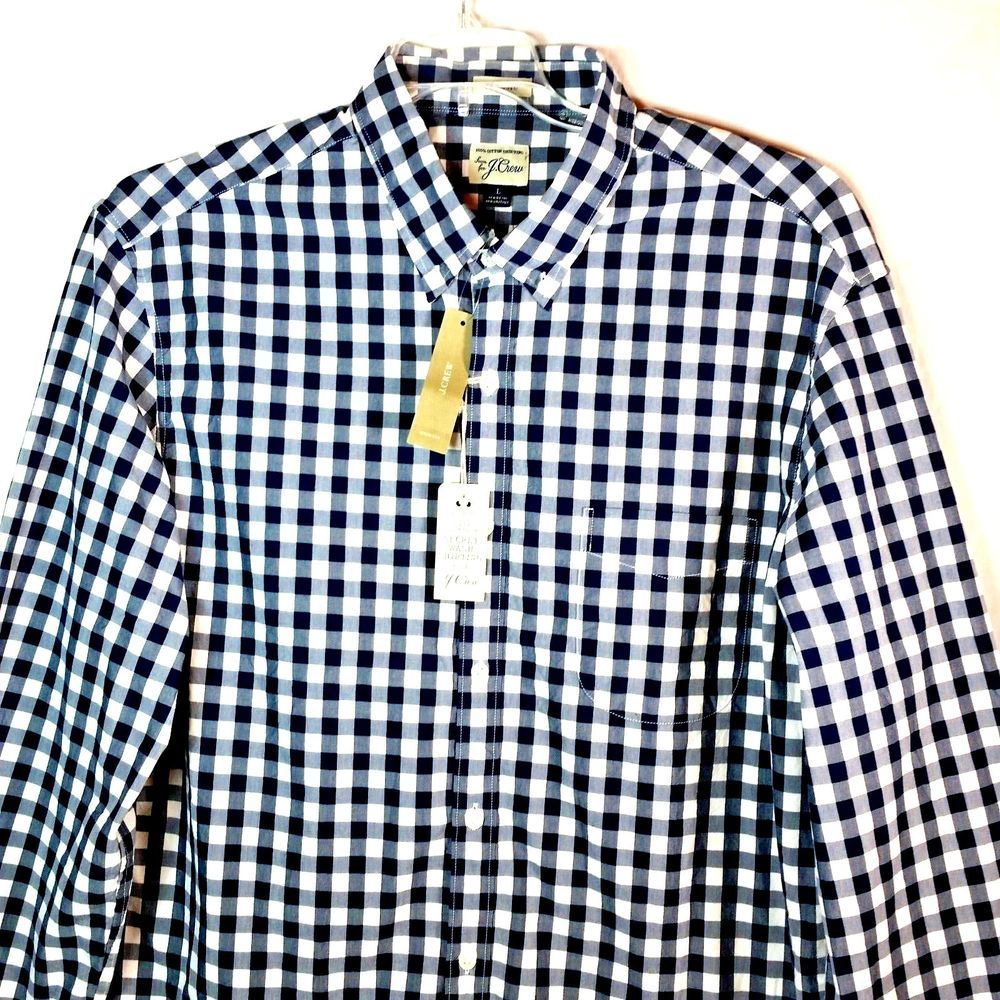 Green checkered dress shirt  J Crew Mens Size Large Classic Shirt Button Down Blue White Plaid
