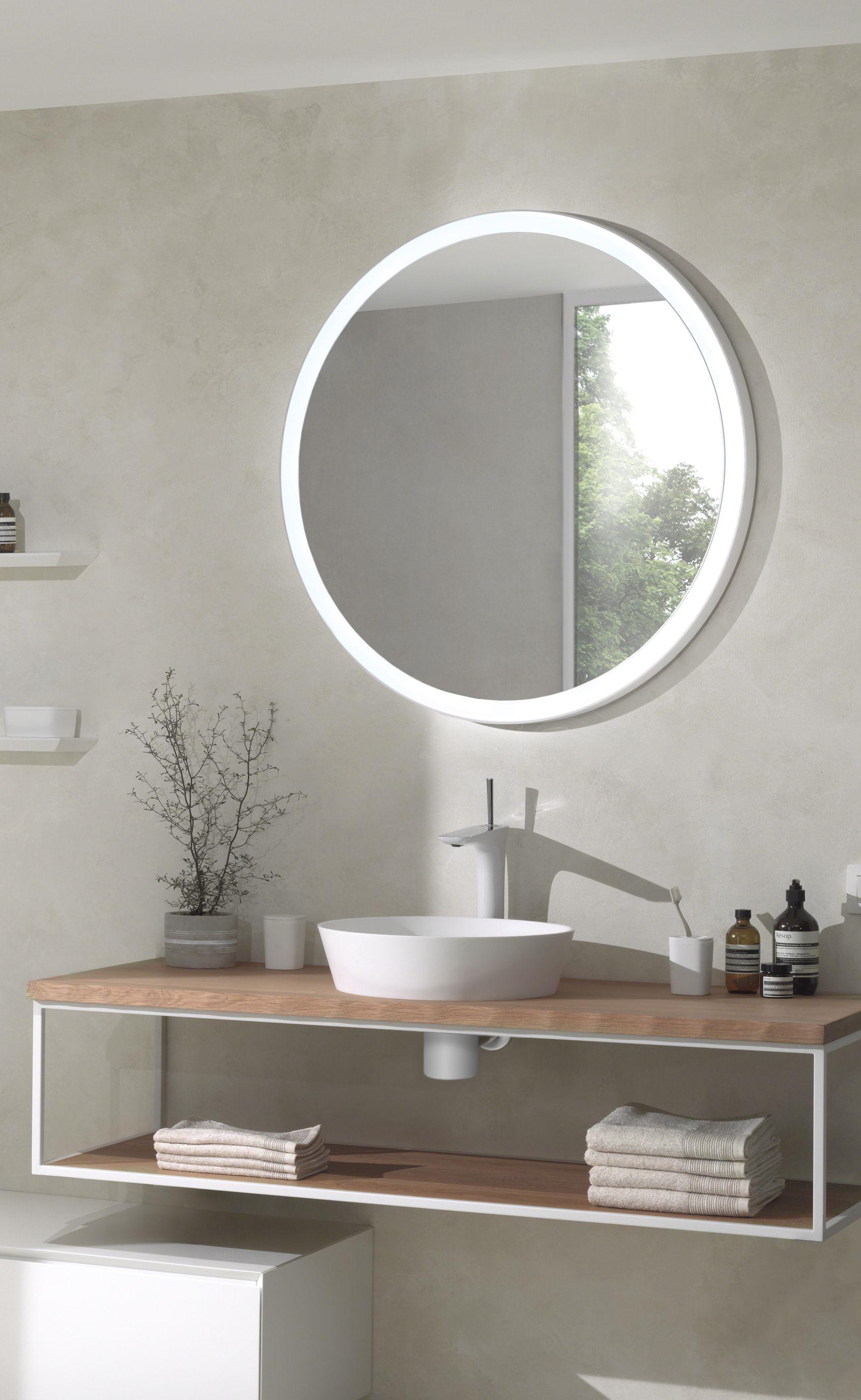 Een Prachtige Ronde Spiegel Met Directe Verlichting Zonder