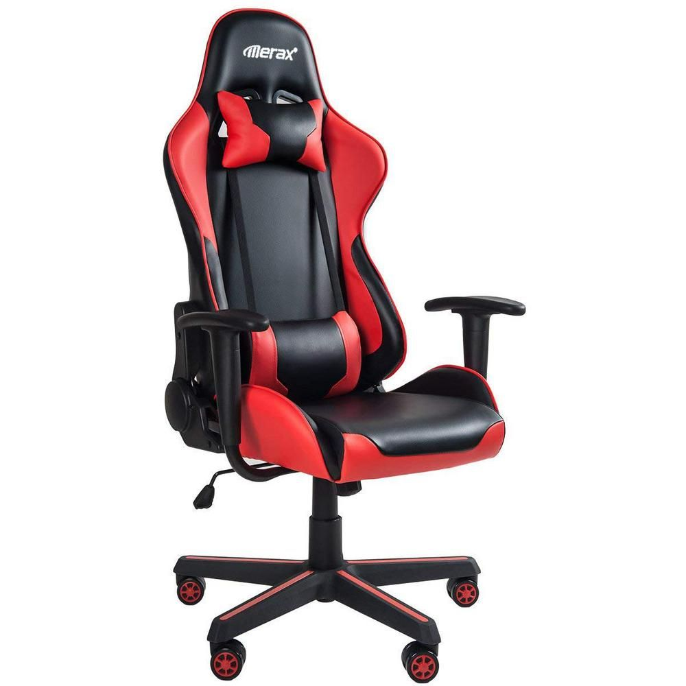 Merax Red High Back Gaming Chair With Lumbar Support And Headrest