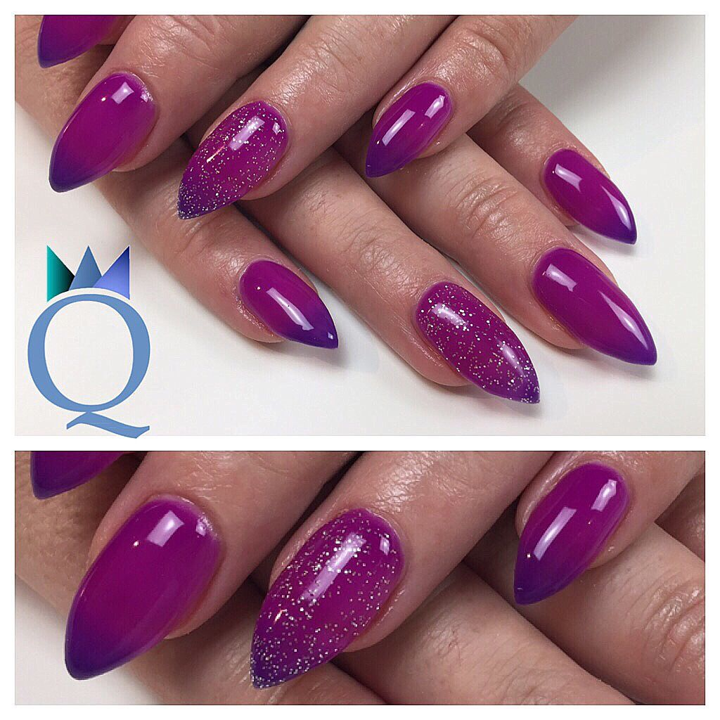 Gelnägel Pink Babystilettos Gelnails Nails Purple Pink Colorchanging