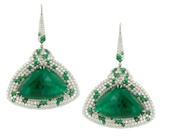 11 Carats Of Triangular Emerald Rose Cut Earrings Set In 18kt Gold And Microset With 626 Round Diamonds Emeralds Martin Katz Beverly Hills