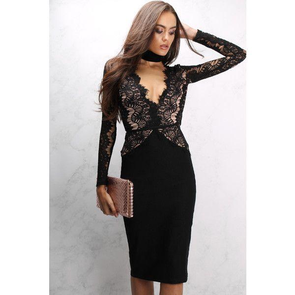 Rare Black Long Sleeve Eyelash Lace Midi Dress ($72) ❤ liked on ...