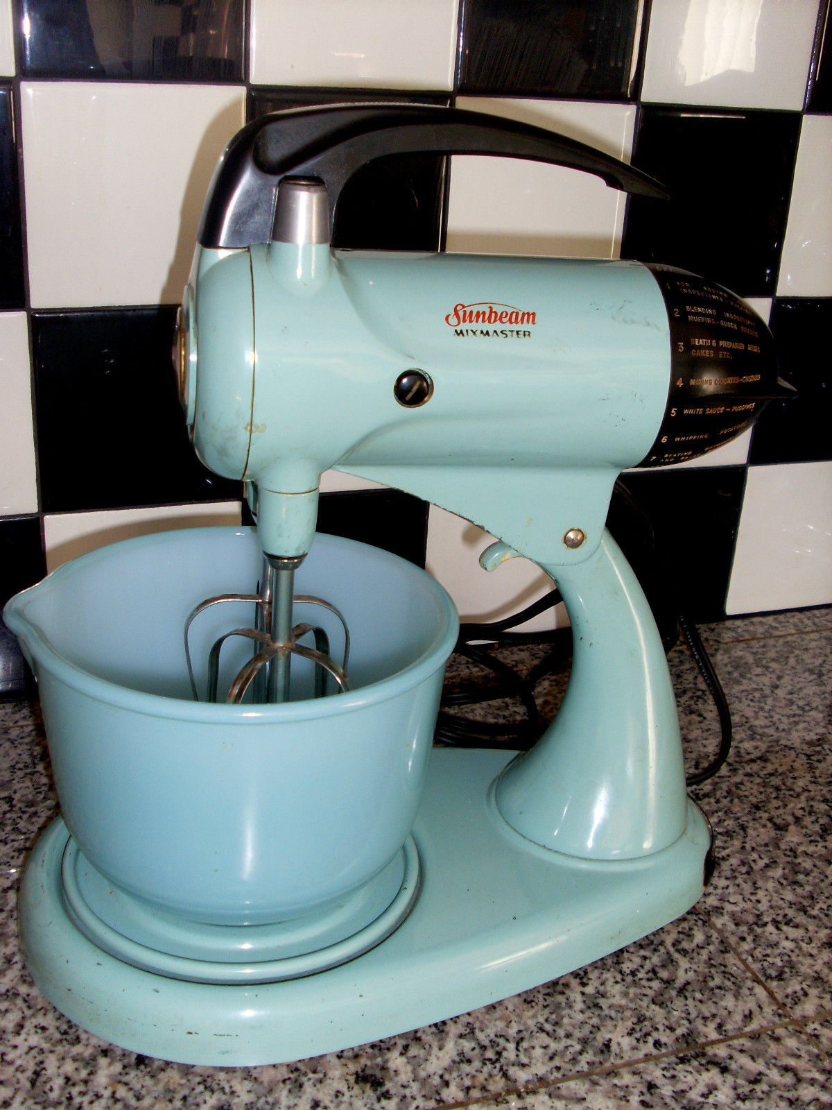Uncategorized 1950s Kitchen Appliances vintage 1950s sunbeam mixmaster model 12c black chrome kitchen aqua turquoise green mixer w matching bowl by glasbake ebay 97 99