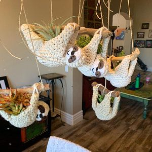 Sloth planter crochet pattern mini succulent planter hanging | Etsy