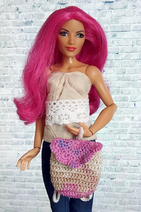 Doll clothing backpack accessories crochet summer bag curvy barbie clothes  wwe fashion royalty 1 6 b 6795d27297e9a