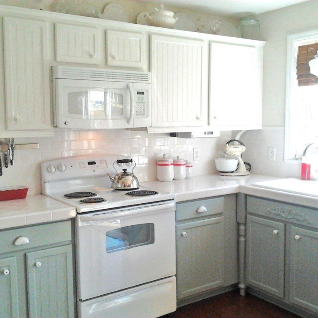 Sage Green Kitchen Cabinets With White Appliances Kitchen