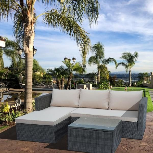 Piece Wicker Outdoor Sectional Sofa, Patio Furniture 3 Piece Sectional Sofa Resin Wicker Beige