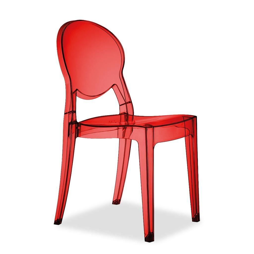 Silla Calcite en acabado rojo translúcido. Es una silla para comedor ...