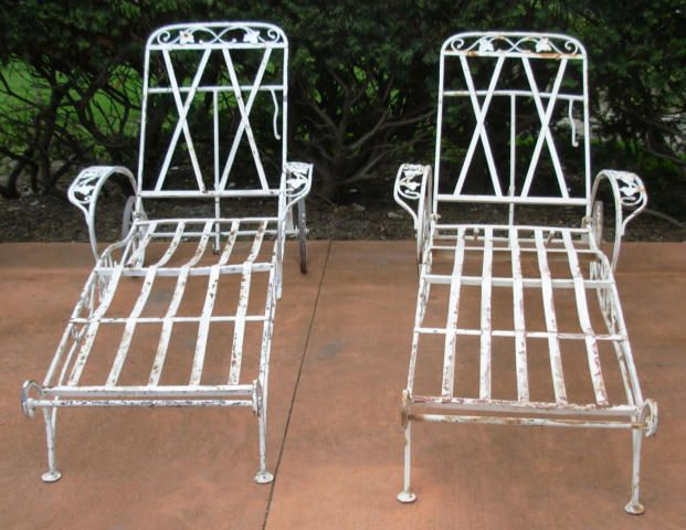 Salterini chaise lounges / Joan Bogart | Vintage Wrought Iron Patio ...