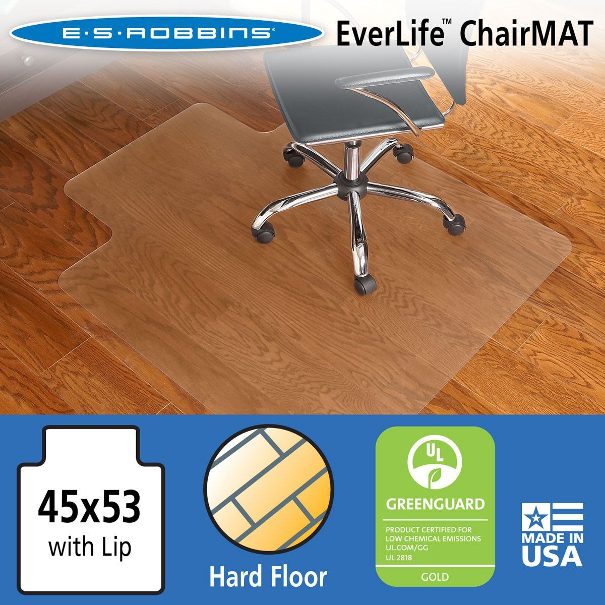 """ES Robbins Chair Mat For Hard Floors 45"""" X 53"""" W/Lip Clear"""