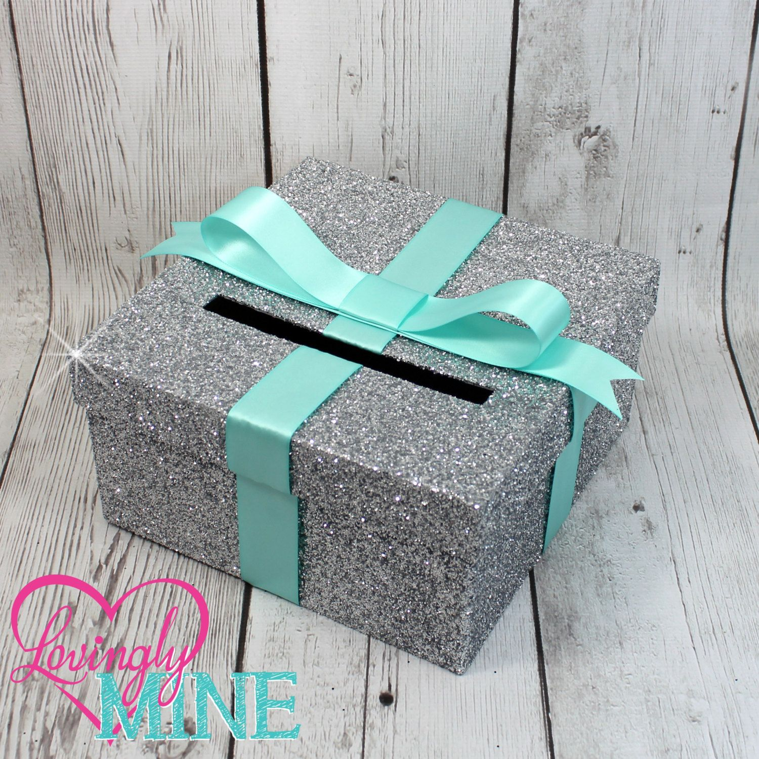 cardbox glitter silver and light aqua blue gift money box for any event baby shower wedding bridal shower birthday party