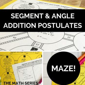 Segment and Angle Addition Postulates - Maze! | | Math