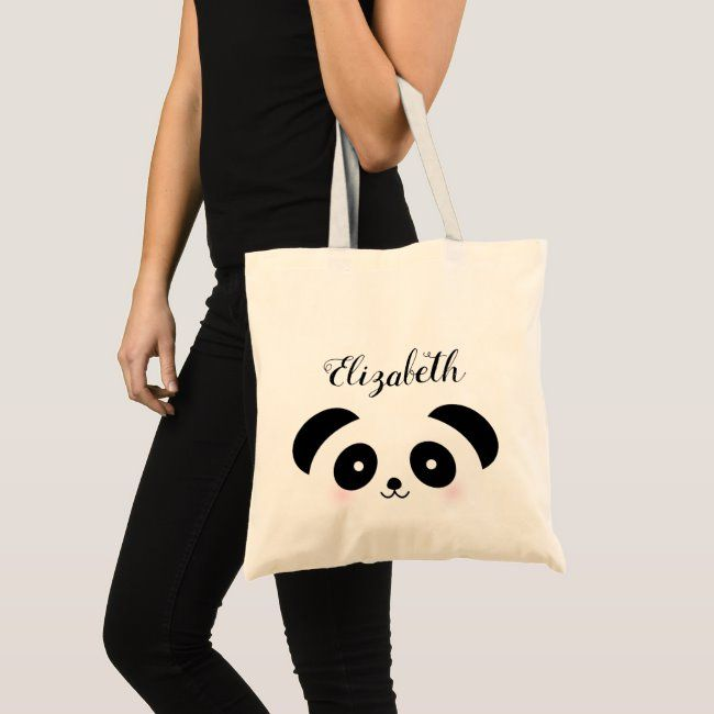 Kawaii Cute Cartoon Panda Bear Custom Name Tote Bag #cute #panda #bear #animal #cartoon #ToteBag