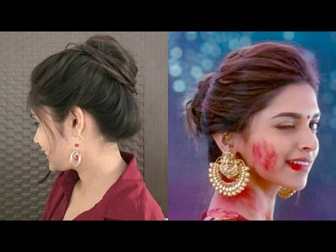 1 Easy Messy Bun Hairstlyle Deepika Padukone Inspired Diy Bun Hairstyle 2017 Youtube Bun Hairstyles Diy Hairstyles Hairstyles For School