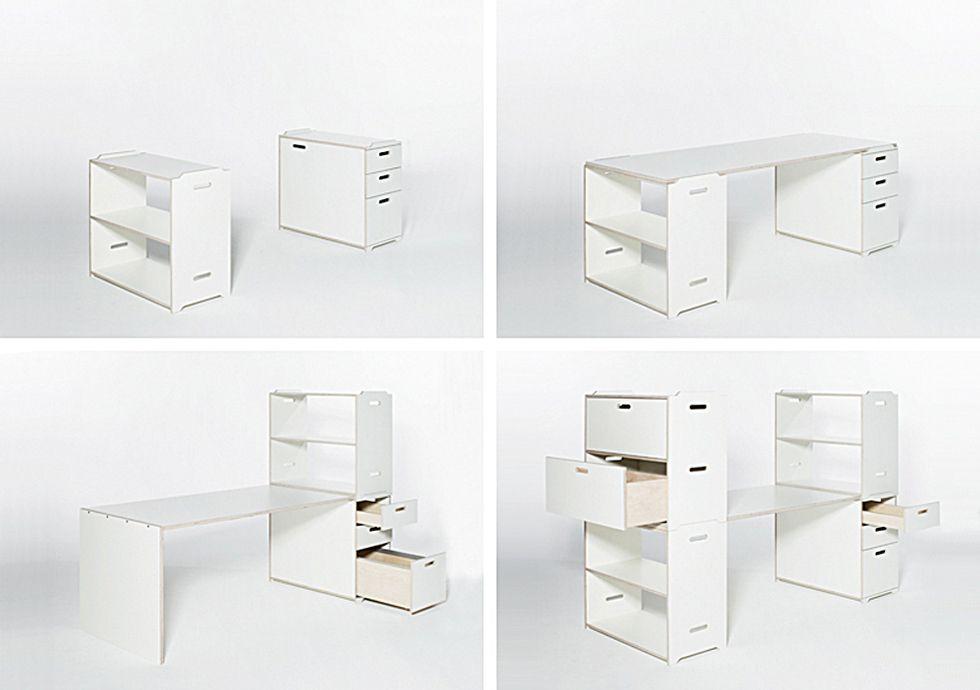 Zwei Boxen und eine Platte bilden den Ausgangspunkt: einen Schreibtisch. Die Aufgaben wachsen? Der Schreibtisch wächst mit. Und so entfaltet pila nach und nach seine volle Schönheit.  Überzeugend im Design. Bestechend in den funktionalen Möglichkeiten.