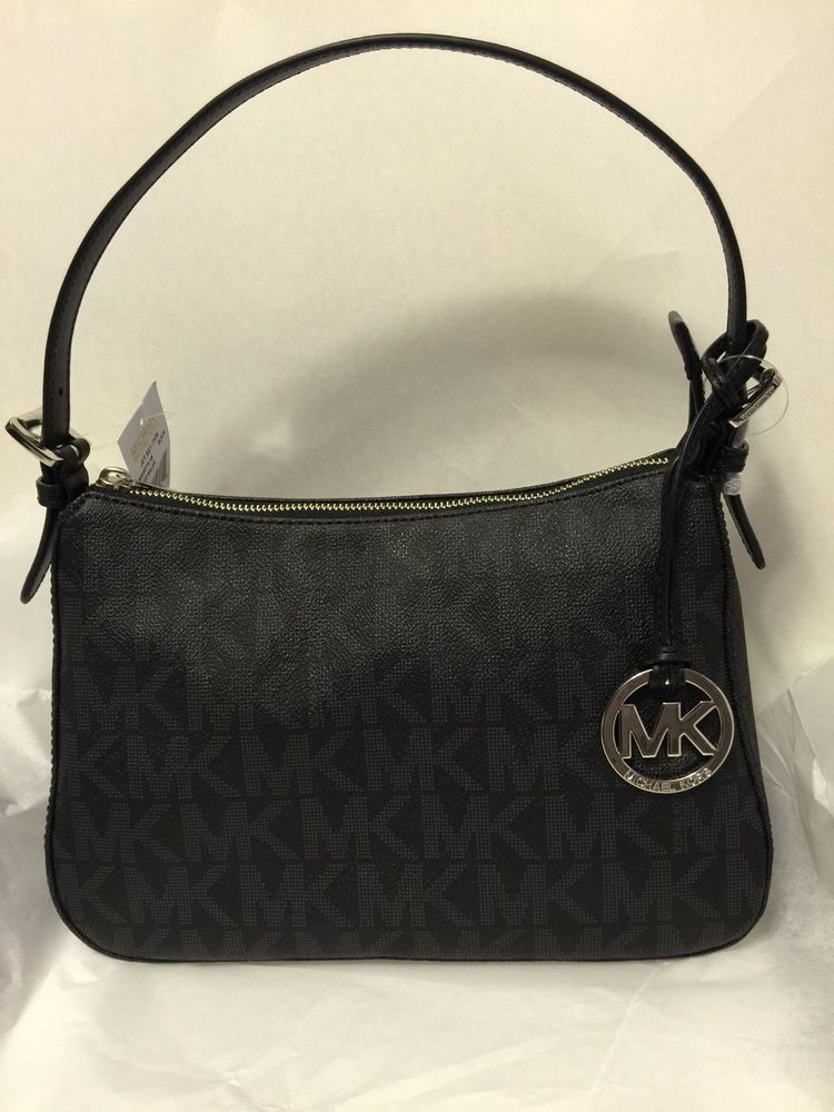 22f07f964d5c Michael Kors Jet Set Item Small Top Zip Shoulder Bag PVC Signature Print  Black  MichaelKors  ShoulderBag
