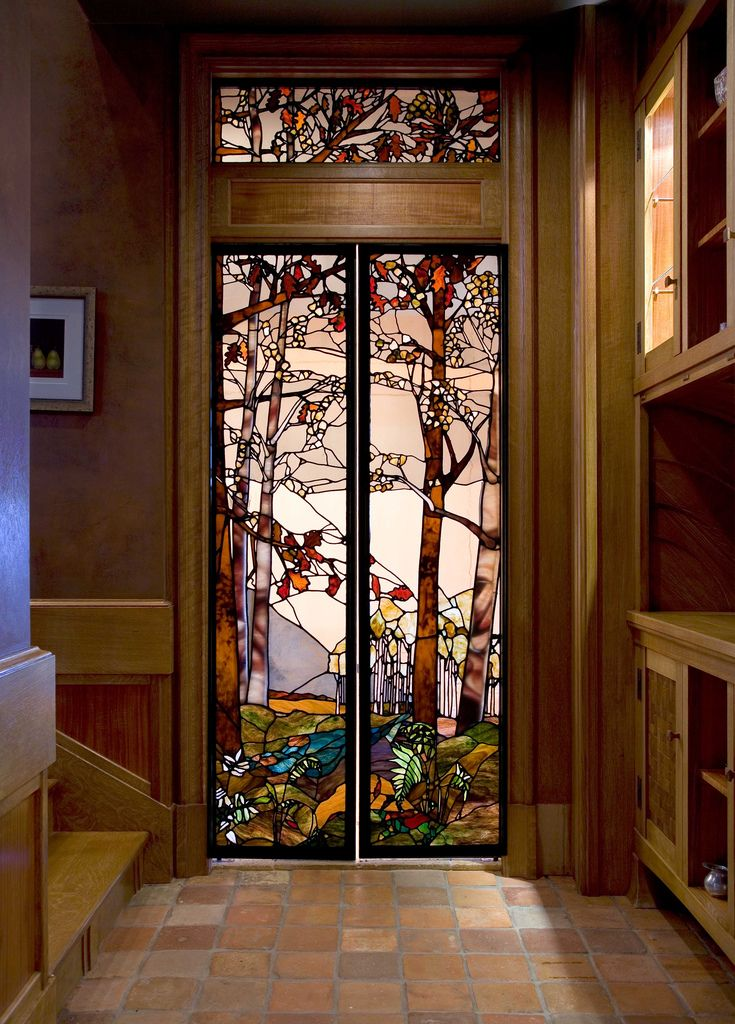 Birch Trees Stained Glass Door Stained Glass Stained Glass Art