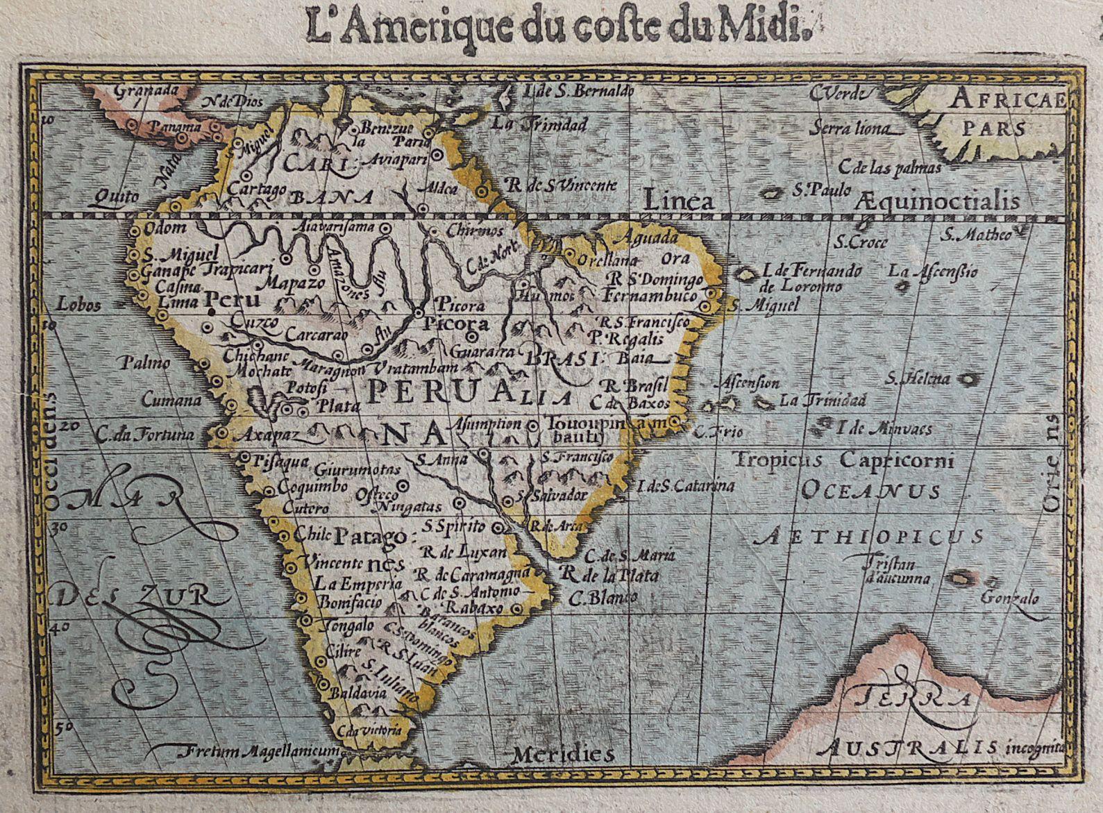 Antique Map L'AMERIQUE DU COSTE DU MIDI Langenes | michael jennings on