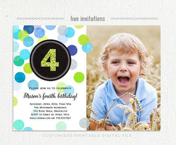 boys 4th birthday invitation with photo navy blue lime green gray