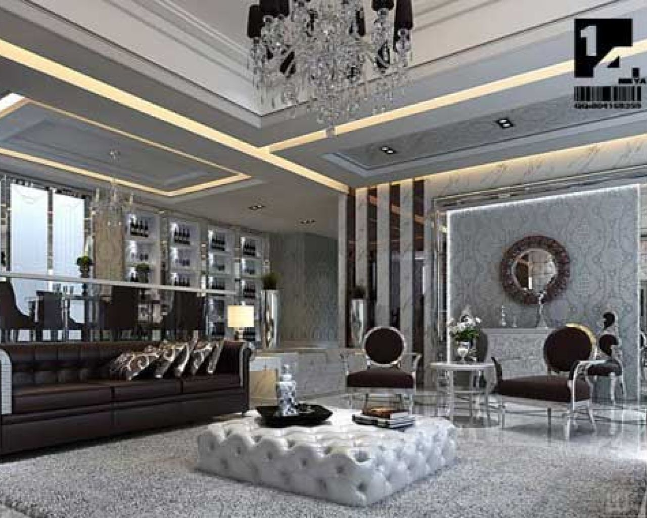 Living room with asian style silver grey wallpaper with for Grey silver wallpaper living room