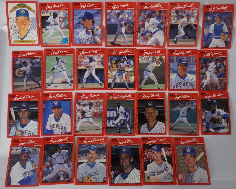 1990 donruss milwaukee brewers team set of 27 baseball