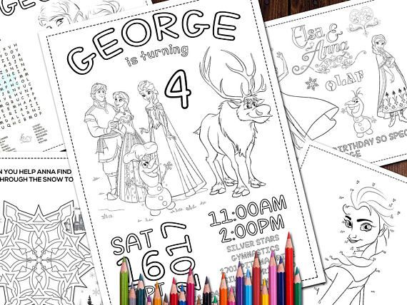 Frozen Coloring Birthday Party Pages Anna