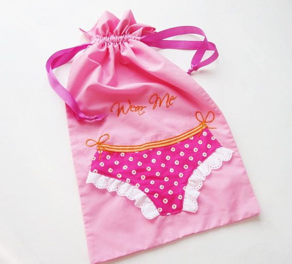 Lingerie  Bag  with Wear Me Hand Embroidered by Meoneil on Etsy, $20.00