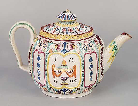 Antigüedades y bellas artes - Blum, Sr. y Sra Jerome - Tetera Raras anticuado maravilloso del 1795
