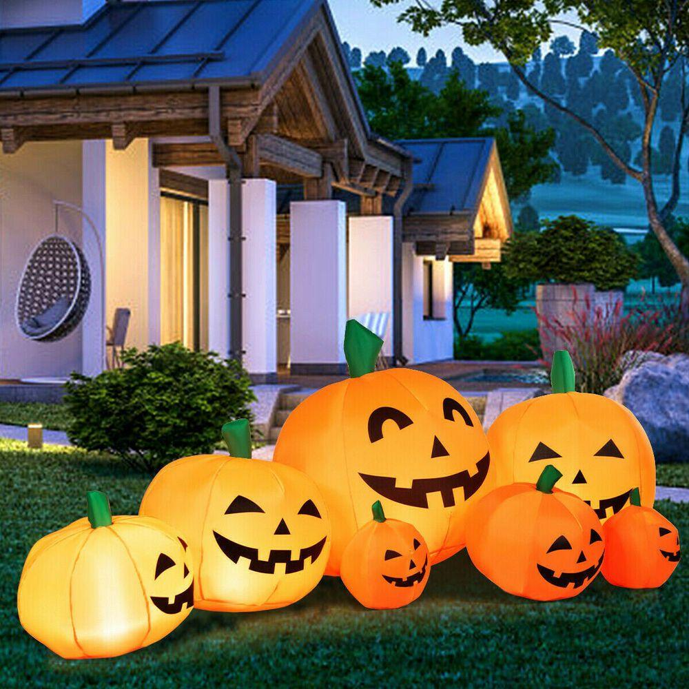 Details about Halloween Inflatable 7 Pumpkins Patch Decor