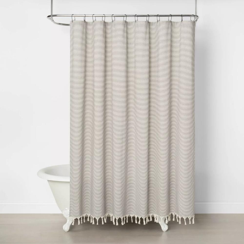 Railroad Stripe Shower Curtain Gray Hearth Hand With Magnolia In 2021 Gray Shower Curtains Striped Shower Curtains Waffle Weave Shower Curtain