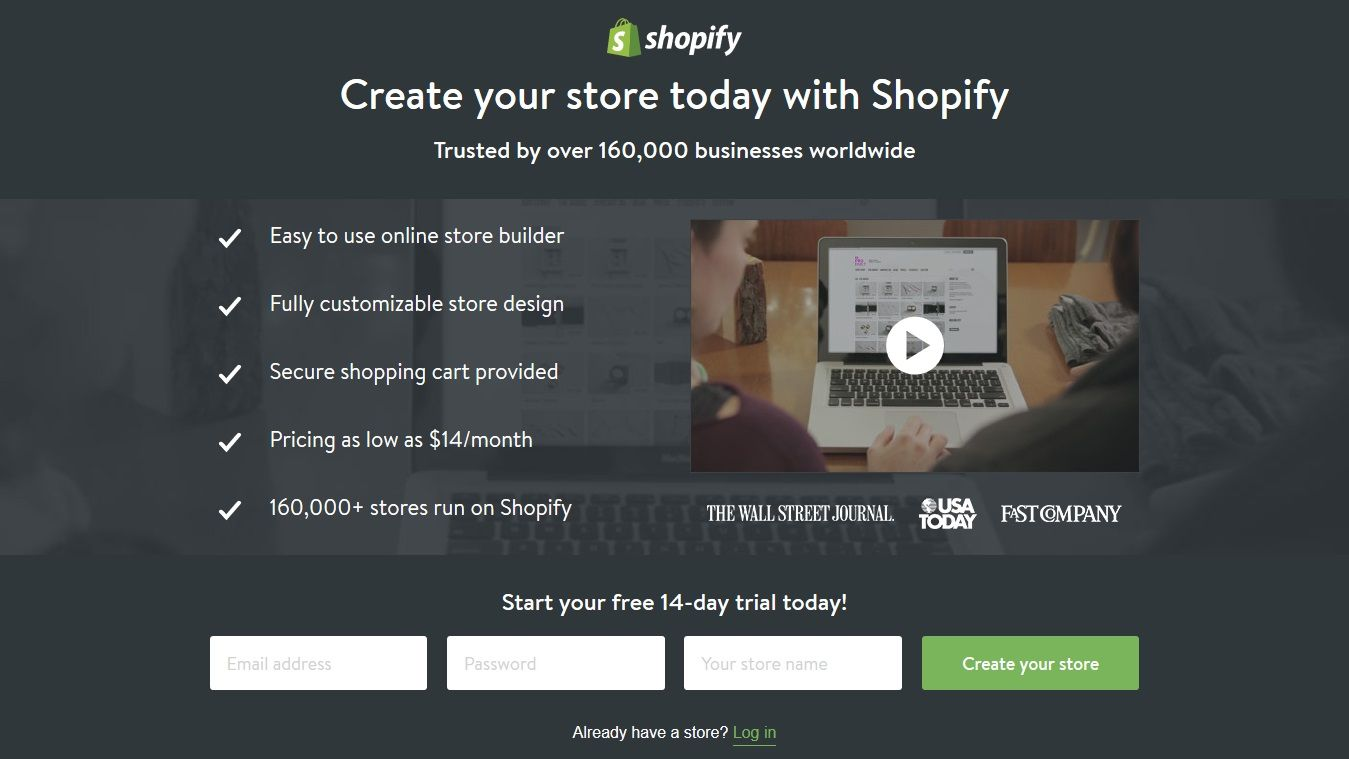 Shopify Landing Page Example Create Your Store Very Compact