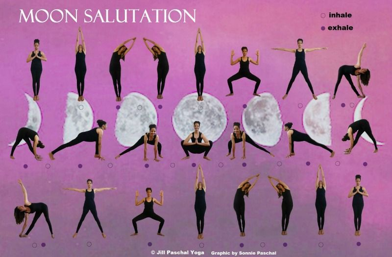 The Moon Salutation Sequence Is Perfect On Days When You Feel Burned Out Tired Or Overstimulated It Is Espe Yoga Moon Salutation Moon Salutation Evening Yoga