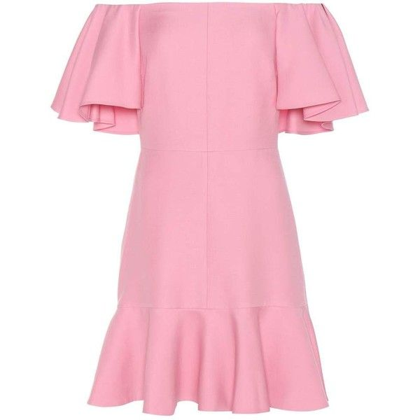 Valentino Virgin wool and silk crêpe off-the-shoulder dress (8.180 BRL) ❤ liked on Polyvore featuring dresses, off the shoulder dress, party dresses, off shoulder dress, pink sparkly dress and silk dress