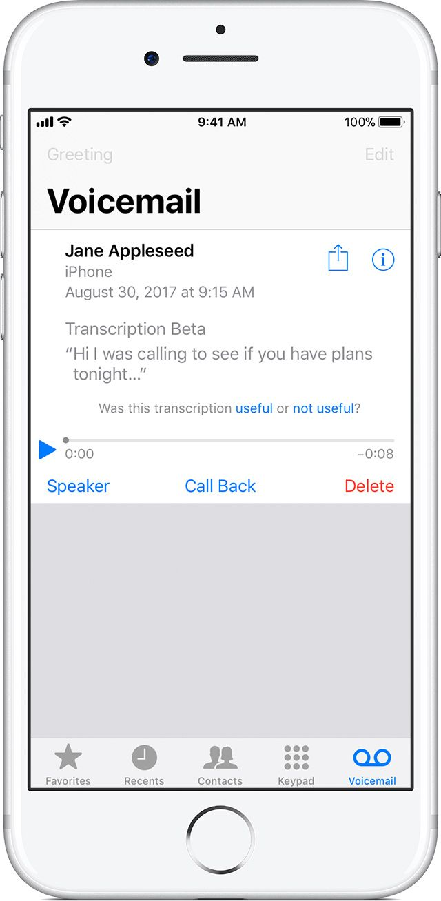 Save and share Visual Voicemail messages on your iPhone