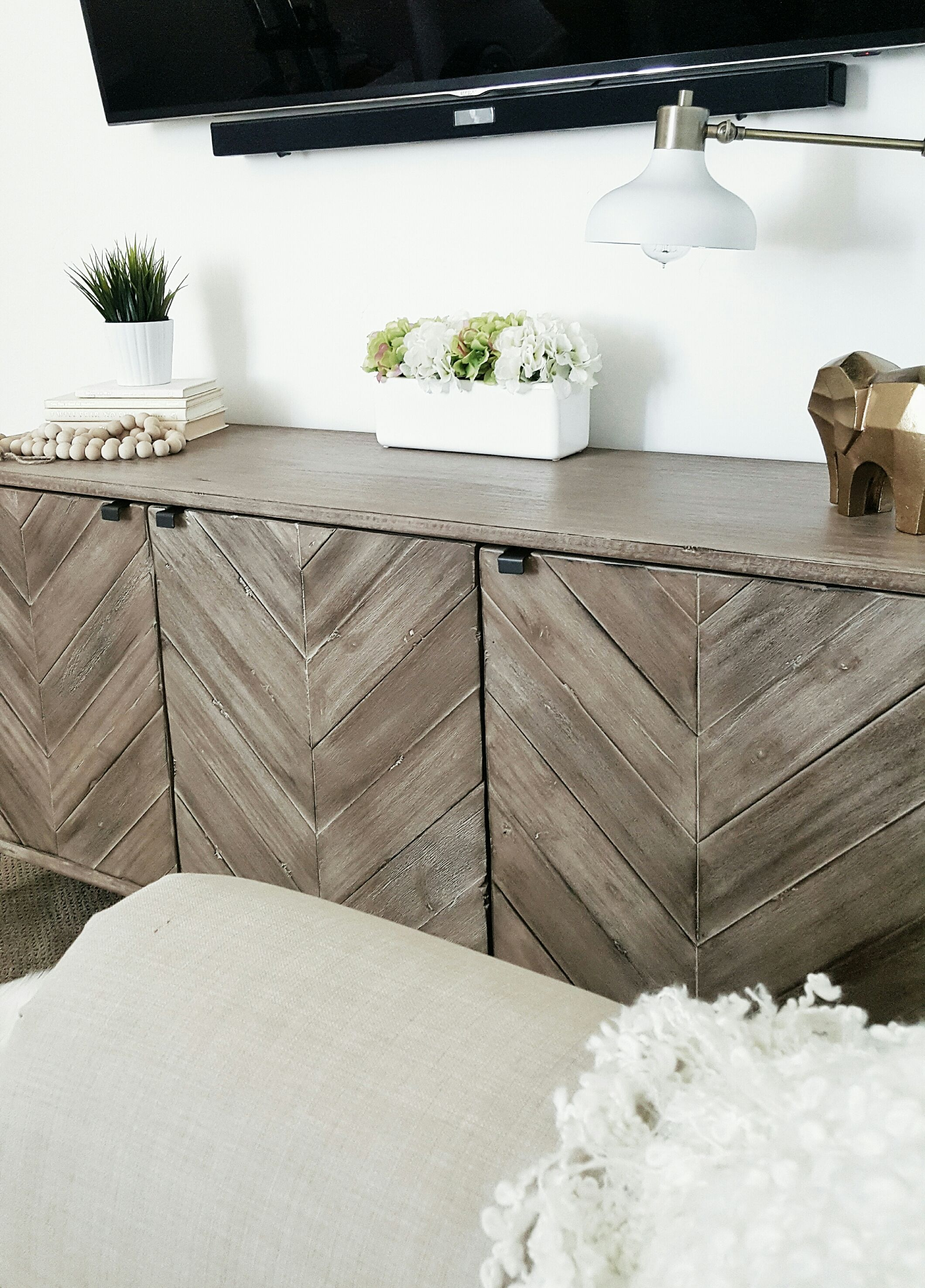 whitlanedecor @whitelanedecor Chevron wood media storage cabinet ...