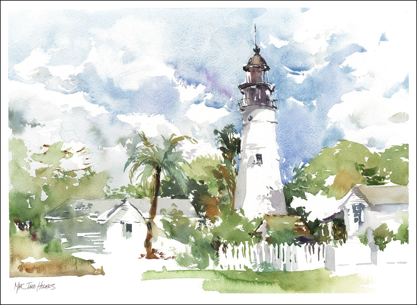 I Could Get Used To Living In Key West Watercolor Landscape